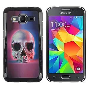 Paccase / Tasche Schutzhülle Case Cover Hülle - Love Skull Hearts Eyes Blue Pink Death - Samsung Galaxy Core Prime SM-G360