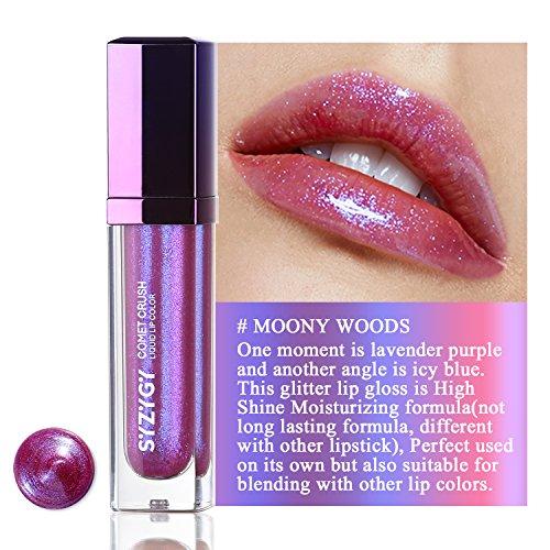 SYZYGY Gloss labbra, Rossetto liquido bicolore, colore per labbra idratante brillantezza estrema, Lucida labbra glitterato brillante, Moony Woods