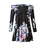 Damen off Shoulder Bluse, FNKDOR Elegant Sommer Casual Schulterfrei Shirt Tops T-Shirt (44, Schwarz)