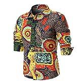 Hffan Herren Retro-Stil Langarm Slim Fit Design Hemden Mode Freizeit Casual Leinenhemd mit Druckknöpfen Freizeithemden Herren Günstig Blumenmuster Bedruckt Tops Shirt Hemd(Orange,XXXX-Large)