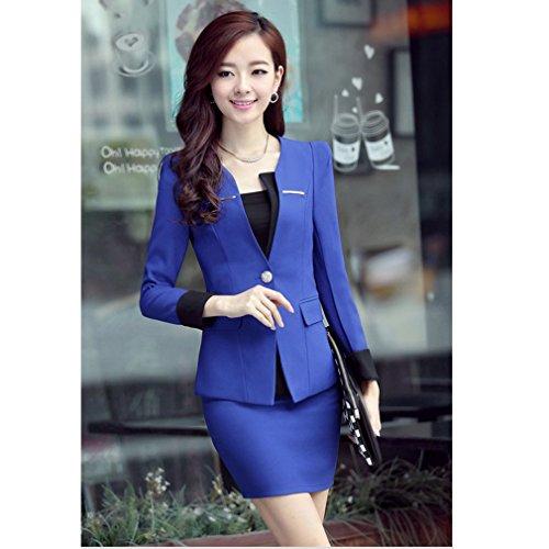 Yinxiang Liying Damen reizvoller dünner Geschäfts Anzug Blazer Röcke Set Marineblau