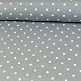 Stoffe Werning Beschichteter Baumwollstoff Tupfen Grau PVC