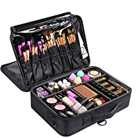 Hotrose 3-Layers Professional Makeup Bag Large Storage Makeup Case Waterproof Brushes Bag Artist Travel Cosmetic Train Cases with Adjustable Dividers and Shoulder Strap