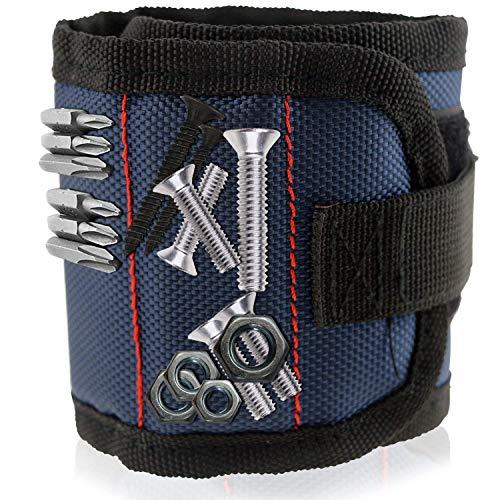 WisFox Magnetische Armbänder mit 10 leistungsstarken Magneten Magnet Armbänder verstellbares Klettband für Holding Werkzeuge, Schrauben, Nägel, Schrauben, Dübel, Bohrungen, kleine Werkzeuge, Schrauben
