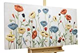 KunstLoft Bild 'Last Sunday' 120x60cm | Original handbemalte Leinwand Bilder XXL | Blumen Rot Blau | signiertes Wandbild-Unikat | Acrylbild auf Leinwand | Modernes Kunst Bild | auf Keilrahmen