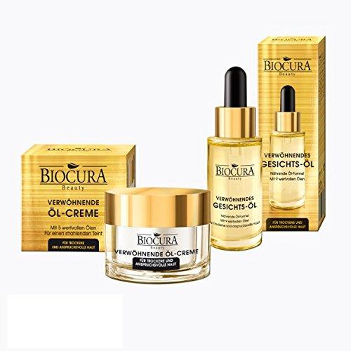 BIOCURA Beauty Set verwöhnende Öl Creme/Öl 50ml/30 ml für Trockene/Reife Haut
