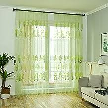 Bulary Printed Tulle Curtains Door Window Balcony Breathable Screens Maple Leaf Window Gauze Living Room Bedroom Window Decor Curtain 100x200cm