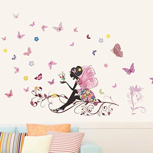 Papillon Fleur Fée Autocollants, Eenkula Nouvelle Mode Chambre Salon Wall Stickers (120cm*80cm)