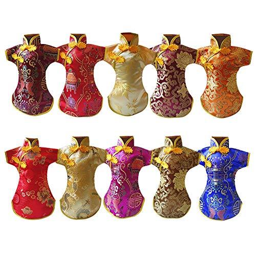 TXYFYP Weinflasche Abdeckung Orientalisch Chinesische Kleid Kostüme, 10pcs Cheongsam Stil Rot Weinflasche Abdeckung, Weihnachten Champagner Schutz Gehäuse für Heim Dinner Party Weihnachten - Chinesisch Cheongsam Kostüm