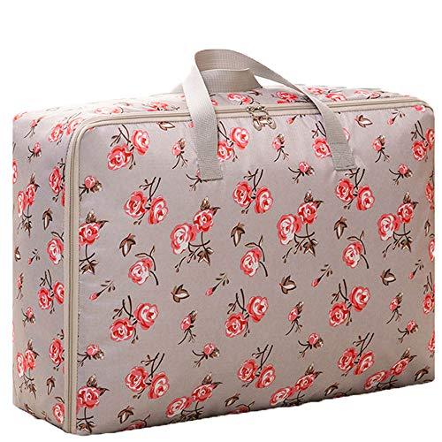 PGYZ dicken Oxford Tuch tragbare Steppdecke Tasche Quilt Aufbewahrungstasche grau Rose 60x50x25cm