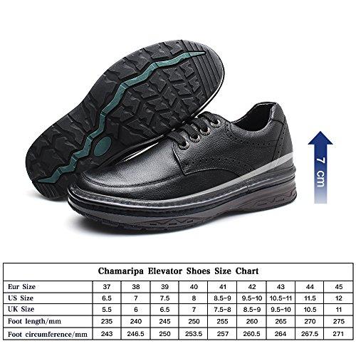 CHAMARIPA Chaussure DAffaires Occasionnels rehaussante Ville Cuir Pour Homme Noir - Plus Grand DE 7 CM noir1