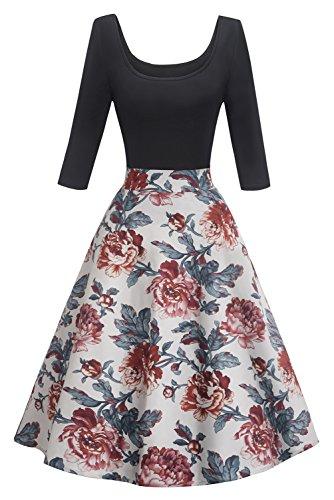 2018 neu Vintage Kleid Blumenkleid Partykleid 80er jahre kleidung Casual Ballkleid FS2740 Gr.S
