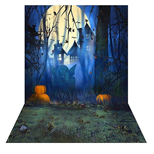(Andoer 1.5 * 2m Fotografie-Hintergrund-Kulisse Digital-Druck Hallowmas Halloween-Kürbis-Friedhof-Schläger-Muster für Foto-Studio)