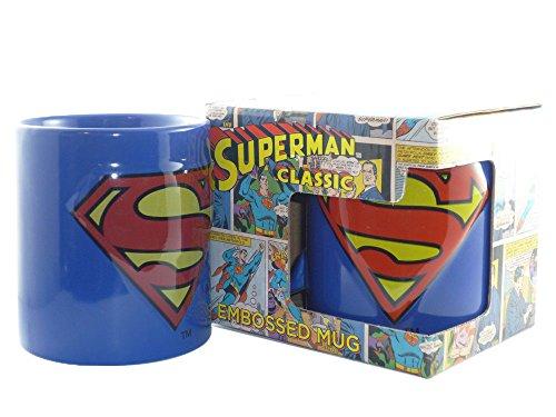 Dc comics–superman retro tazza regalo tazza–con 3d logo–confezionato in una scatola regalo