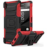 Sony Xperia Z5 2015 Phone Funda - MoKo [Heavy Duty] Full Body Rugged Holster Funda Con Swivel Belt Clip - Dual Layer Shock Resistant para Sony Xperia Z5 5.2 Inch Smartphone 2015 Edition, Rojo