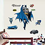 ZNU Wall Stickers Paper Decals Removable PVC Home Living Dinning Room Bedroom Kitchen Decoration Art Murals DIY Stick Girls Boys kids Nursery Baby Room Playroom Decorating (Batman)