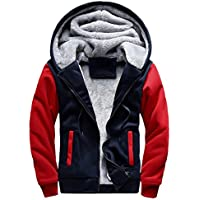 CICIYONER Männer Jacke Herren Kapuzenpullover Winter Warm Vlies Reißverschluss Sweatshirt Jacke Outwear Mantel