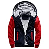 CICIYONER Men Winter Outwear Mens M-5XL Hooded Sweatshirt Winter Warm Fleece Zipper Jacket Outwear Coat