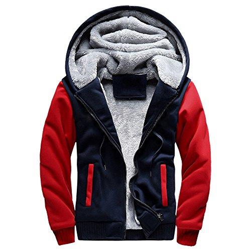FIRSS Männer Mantel Warm Kapuzenmäntel Vlies Jacke Kapuze Taschen Kurzmantel Warme Reißverschluss Sweatshirt Jacke - Double Breasted Knit Blazer