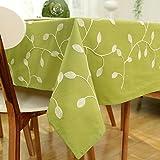 Fanjow® tovaglia rettangolare Country Style tovaglia in cotone tessuto decorativo tavolo copertura per cucina Dinning pub da tavola decorazione, Cotone, Green Leaf Embroidered, 140cm*140cm