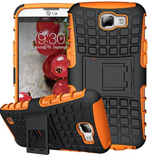 Nnopbeclik 2in1 Dual Layer Coque LG K4 Silicone [New] [Armor Séries] Protectrice Fine Et Élégante Rigide Back Cover Incassable case pour lg k4 Coque Silicone antichoc [K120E] (4.5 Pouce) [Ridige] Protection Hybride en Mélange avec Béquille de Support Intégrée Housse Antiglisse Anti-Scratch Etui - [Orange]