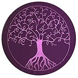 maylow Yoga mit Herz Yogakissen mit Stickerei Baum des Lebens Meditationskissen Violett 33 x 15 cm