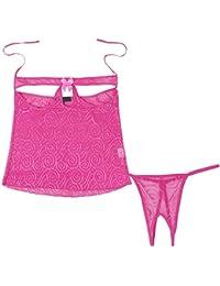 YiZYiF 2tlg. Nachtmäntel mit String Erotik Wäsche Nachtkleid Nachthemd Unterwäsche Damen Dessous Set Negligee M-XL