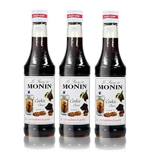 3x Monin Cookie Choco Sirup, 250 ml Flasche - für Cocktails, zum Kaffee oder Kochen