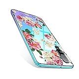 CICIBER Kompatibel mit Huawei P30 Hülle Silikon Transparent Schutzhülle Weich TPU HandyHülle, Mädchen Geschenk Pink Blumen Muster Antikratz Design case Cover - Rose