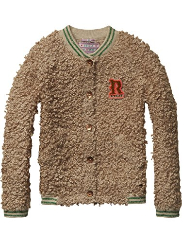 Scotch R'Belle Mädchen Strickjacke Chunky Knitted Bomber Cardigan, Braun (Moss Melange 612), 152 (Herstellergröße: 12)