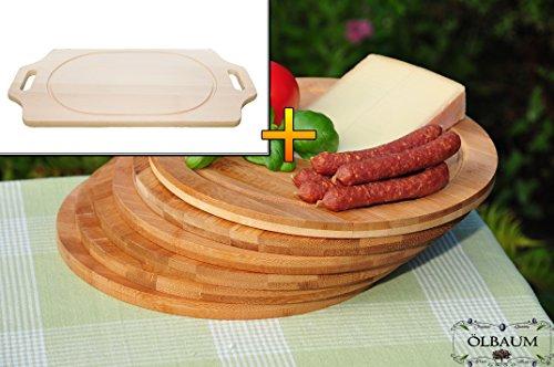 Schneidebrett - massive, hochwertige ca. 15 mm starke Picknick Grill-Holzbretter mit zwei Seitengriffen natur, Maße viereckig je ca. 36 cm x 29 cm & 6 Stk. Schneidebrett - massive, hochwertige ca. 12 mm starke Picknick Grill-Holzbretter mit Rillung natur, dunkles Bambus, Maße rund je ca. 25 cm Durchmesser als Bruschetta-Servierbrett, Brotzeitbrett, Bayerisches Brotzeitbrettl, NEU Massive Schneidebretter, Frühstücksbretter,