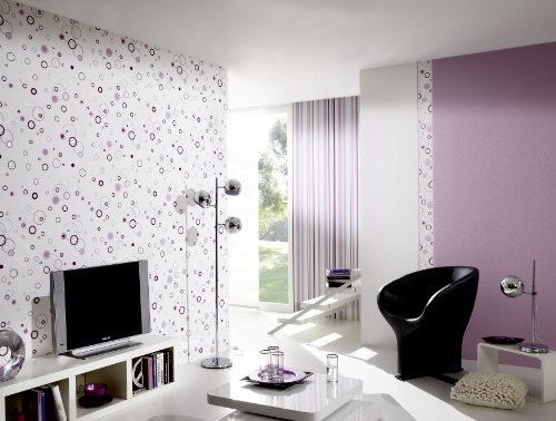 A.S. Création Strukturprofiltapete Happy Hour, Streifentapete, grau, violett, weiß, 259424 - 2
