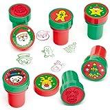 Selbstfärbende Stempel Weihnachten für Kinder zum Verzieren von Karten und Bastelprojekten (10 Stück)