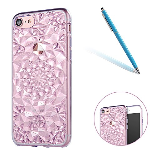 iPhone 7 Caso Cassa Back Cover, CLTPY Marvel Colorato Belle Particolari 3D Cristallo Modello del Diamante Disegni Shell Skin in Liscio Smooth Toccare Gomma,Resistente Urti Antiurto Chiaro Cristallo Po Viola