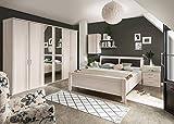 lifestyle4living Schlafzimmer, Schlafzimmerset, Schlafzimmermöbel, komplett, Komplettset, Schlafzimmereinrichtung, Drehtüren, Polar, Lärche, 180x200 cm, Nachtschrank