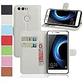 MaxKu Huawei Honor 8 Pro Hülle, Premium PU Leder Mappen Kasten für Huawei Honor 8 Pro Smartphone, Weiß