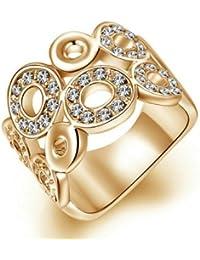 9d01ab263daeee Yoursfs Bijoux magnifique 18k Or plaqué Solitaires en Cristal autrichien  pavés de Bague couronne pour Femme