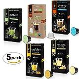 King Cup - Sconto confezione Multigusto in Capsule Compatibili Nespresso - X1 Caffè al Ginseng - X1 Matcha Green Tea - X1 Golden Milk - X1 Zenzero e Limone - X1 Caffè Biologico Faritrade ( totale 50 Capsule )