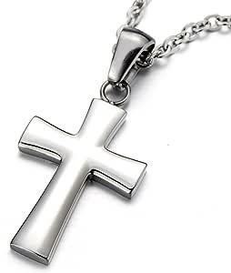 COOLSTEELANDBEYOND Piccolo Collana di Croce, Ciondolo Croce, Collana con Pendente da Uomo da Donna, Acciaio Inossidabile