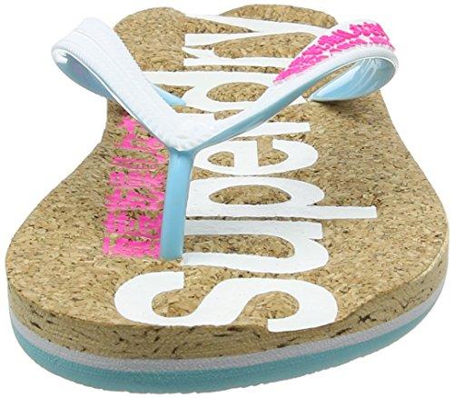 Superdry Damen Cork Colour Pop Zehentrenner mehrfarbig (Optic White/Fluro Pink)