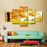 mmwin HD Impreso Poster Sala de Estar Decoración para el hogar Golden Yellow Maple Trees Scenery s Lienzo Modular Arte de la Pared Imágenes Trabajo