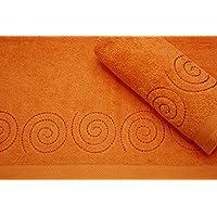 Montse Interiors Juego de Toallas Bordadas 2 piezas 550gr ESPIRAL Nº3 (Naranja)