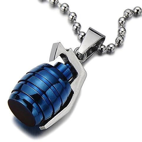 Grenade Pendentif Collier Homme Acier Inoxydable - Argent bleu deux tons - Poli Mirro - avec 60CM Chaîne de Boule