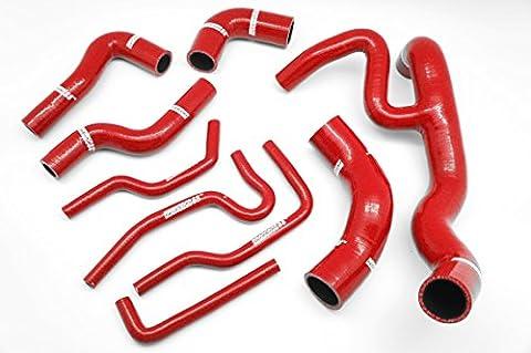 Autobahn88 Kühler Kühlmittel & Heizung Silikon Schlauch Kit, modell ASHK123-RD (Rot - ohne Klemme)