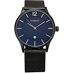Bonamana Men's Business Style Big Dial Stainless Steel Wristwatch with Link Bracele-Bue