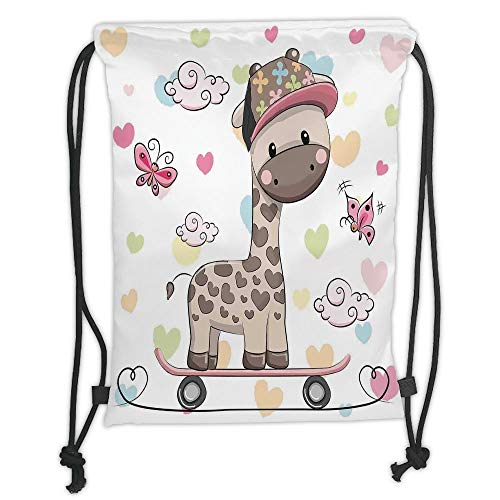 GONIESA Drawstring Sack Backpacks Bags,Kids,Cute Cool Giraffe Wearing Cap on a Skate Board with Butterflies Fun Colorful Hearts Print Decorative, Soft Satin,5 Liter Capacity,Adjustable String C -