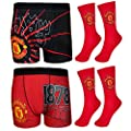 Manchester United FC Official Football Gift Mens Crest Socks & Boxer Shorts