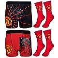 Manchester United FC Official Football Gift Mens Crest Socks & Boxer Shorts