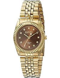 August Steiner Reloj de cuarzo para mujer con esfera marrón pantalla analógica y oro pulsera de acero inoxidable as8170ygbr