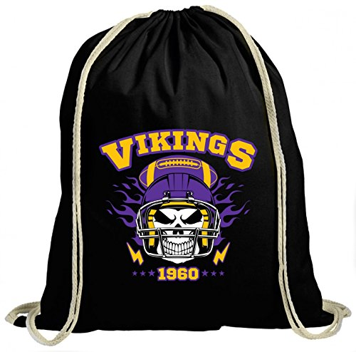 Shirt Happenz Vikings Skull Premium Turnbeutel | American Football | Totenkopf | Football-Helm | Unisex | Gymbag, Farbe:Schwarz (Gymbeutel);Größe:37cm x 46 cm